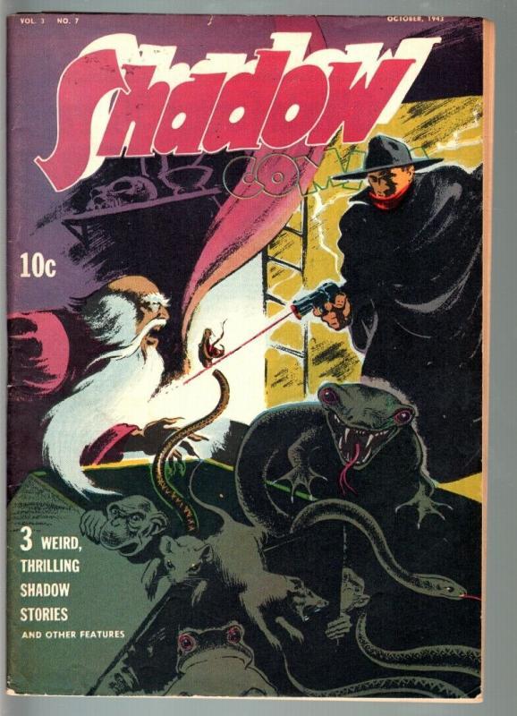 SHADOW COMICS V.3 #7-1943-snake pit cover-GOLDEN AGE-VF minus VG+