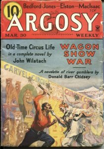 ARGOSY MAR 30 1935--CARNIVAL FIGHT COVER---CIRCUS STORY---STOOKIE ALLEN--H BE...