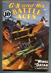 G-8 and His Battle Aces Pulp May1936-Aviation hero pulp- VG