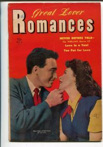 Great Lover Romances #3 1952-Toby-Mala Powers-girl fight panel-John Wayne-VG+