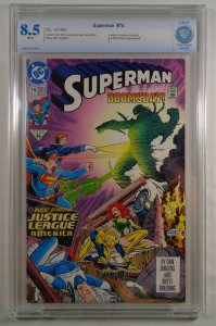Superman #74 CBCS 8.5 White Pages 3rd Appearance Doomsday