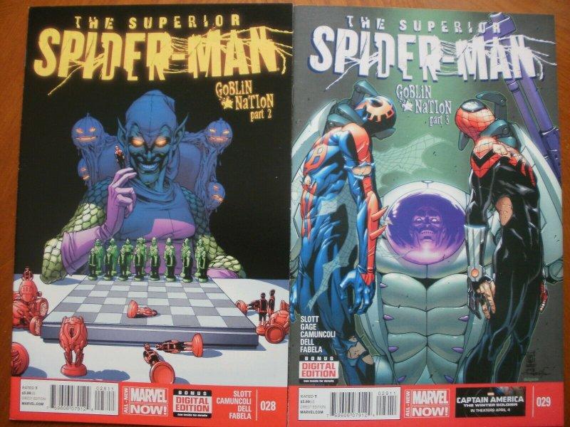 2 Near-Mint Marvel Comic: SUPERIOR SPIDER-MAN Goblin Nation (2014) Slott Dell