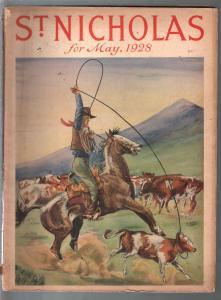 St. Nicholas 5/1928-western cover by Louis Lundern-art-pulp thrills-pix-VG-