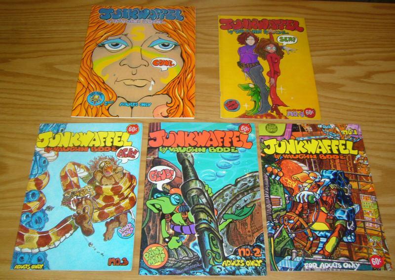 Junkwaffel #1-5 VF (1st) prints - vaughn bode - underground comix set lot 2 3 4