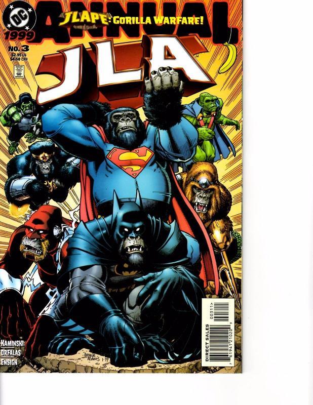Lot Of 2 DC Comic Book JLA One Million and JLA Gorilla Warfare #3 KS11