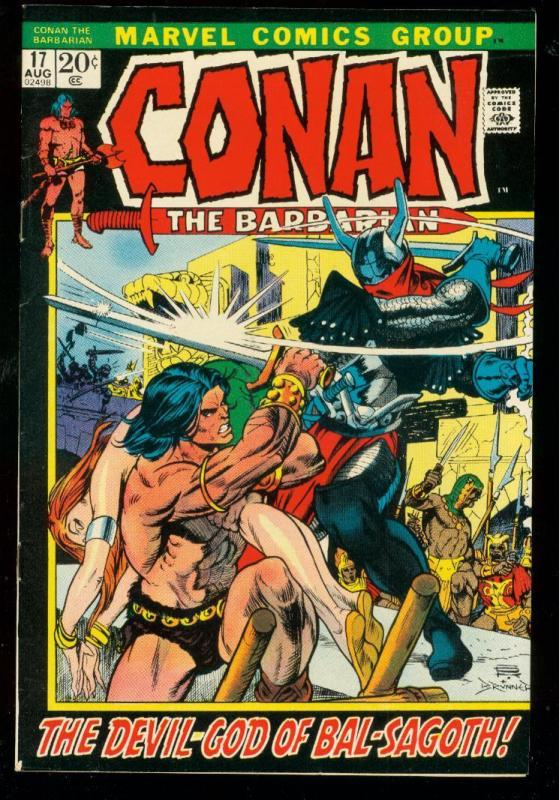 CONAN THE BARBARIAN #17 1972-MARVEL COMICS-fine FN