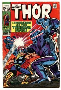 THOR #170 comic book 1969 MARVEL COMICS THERMAL MAN JACK KIRBY VG