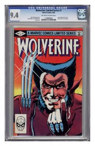 Wolverine #1 CGC 9.4 (First solo series. Pencils and cover Frank Miller)