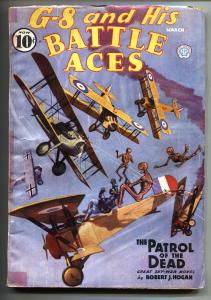 G-8 and His Battle Aces Pulp March 1936-Aviation hero pulp- VG-