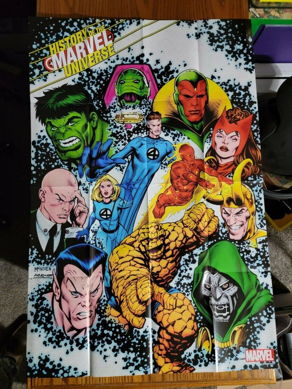 LARGE 36 x 24 History of the Marvel Universe Promo Poster Hulk Vision Wanda