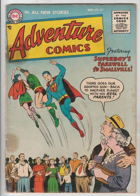 Adventure Comics #217 (Oct-55) VG+ Affordable-Grade Superboy, Green Arrow, Sp...