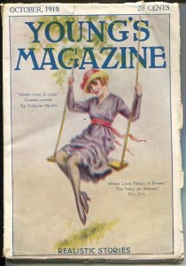 Young's Magazine 10/1919-silk stocking cover-early spicy romance-VG/FN