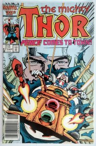 The Mighty Thor #371,1st App of Justice Peace, RARE NEWSSTAND EDITION