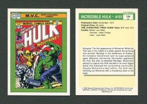 1990 Marvel Comics Card  #134 (Incredible Hulk #181 Cover) / MINT