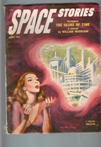SPACE STORIES 1953 APR-SPACE GIRL COVER-COOL FN