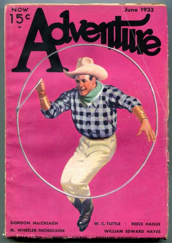 Adventure Pulp June 1933- WC Tuttle- Wheeler-Nicholson- Lasso cover FN-