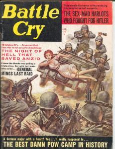 Battle Cry 8/1962-Stanley-bizarre bondage cover-Joy Thomas cheesecake-Nazi-VG