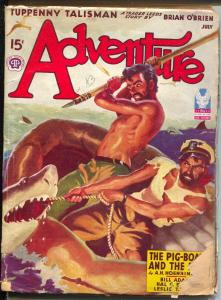 Adventure 7/1943-shark attack cover-Maurice Bower-WWII pulp stories-G