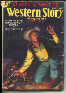 Western Story 8/12/1933-W.C Tuttle-Nick Eggenhofer interior art-Paris Devlin,...