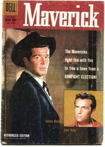 MAVERICK-DELL FOUR COLOR #1005-JAMES GARNER-JACK KELLY-TV PHOTO CVR-1958