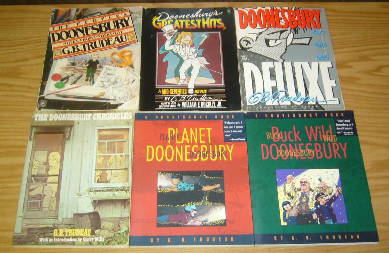 (9) Doonesbury books from the 1990s by G.B. Trudeau - political comics set lot