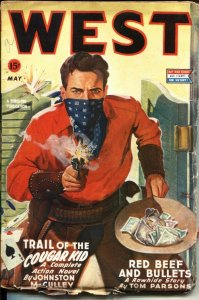 WEST-MAY 1944-RUDOLPH BELARSKI CARD GAME BAR ROOM FIGHT COVER ART--PULP--WW I...