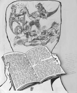BUDD ROOT original published art, CAVEWOMAN #3 pg #17, 1st series , 14x17,1994