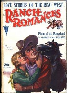 RANCH ROMANCES 1st  AUG 1929-CLAYTON PUBS-WESTERN PULP FICTION-RARE
