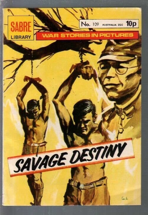 Sabre Library #109 1976-Savage Destiny-WWII stories-printed in Spain-VF