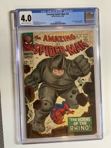 Amazing Spider-man 41 Cgc 4.0 Cr/ow Pages Marvel Silver Age