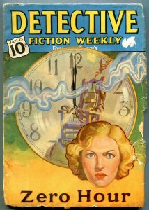 Detective Fiction Weekly Pulp January 15 1938- electric chair cover- Hugh Cave