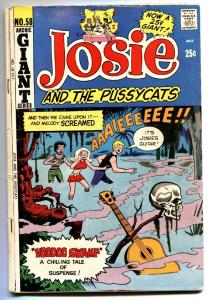 Josie and The Pussycats #58 1971- skull cover  Voodoo Swamp Archie VG