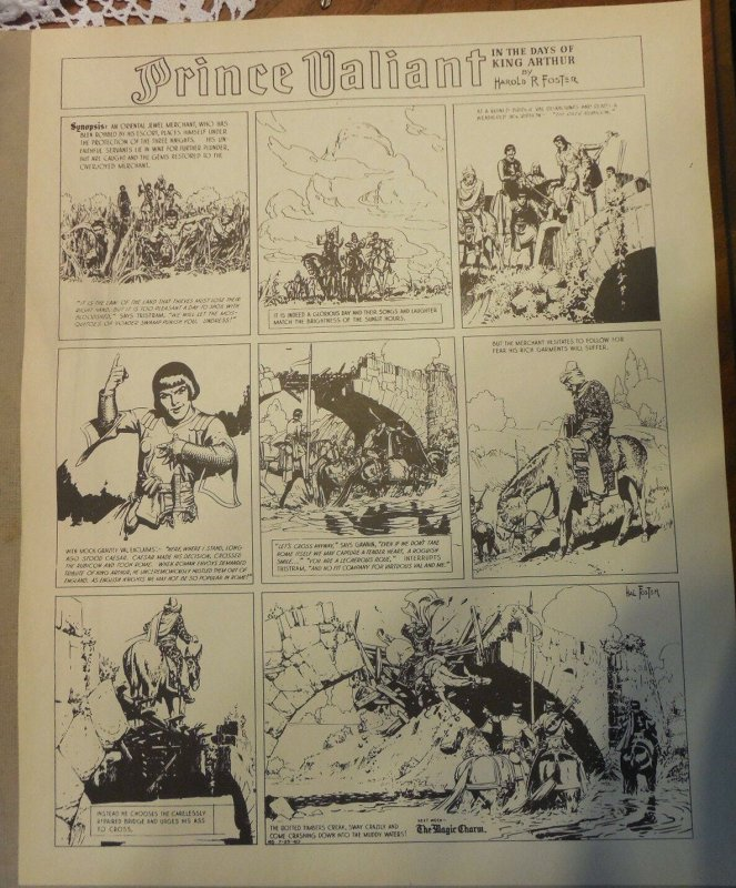 Prince Valiant by Hal Foster Syndicate Proof 7/25/1940  Size 16 x 20 inches