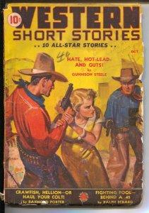 Western Short Stories  3/1941-Red Circle-JW Scott gunfight cover-Ed Earl Repp...