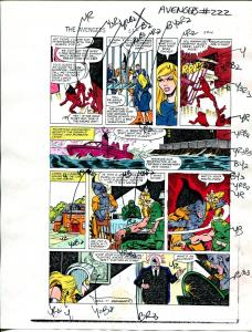 Avengers #222 1982 Hand Painted  Colorguide Page 14-Tiger Shark-Egg Head-VG