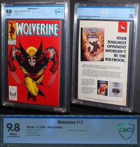 Wolverine #17  / CBCS 9.8 NM-MT Classic John Byrne Cover  1989