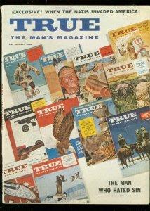 TRUE MAGAZINE JAN 1956-FISHING-SWIMMING-CANNIBALS VG