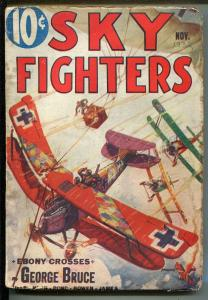 SKY FIGHTERS 11/1933-AIR WAR PULPS-WWI-5TH ISSUE-EBONY CROSSES-GEORGE BRUCE-vg