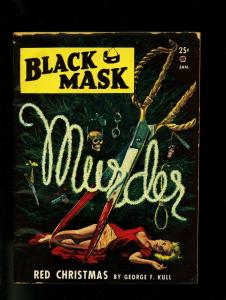 Black Mask Pulp January 1948- Skull Bloody Scissors cover- VG+