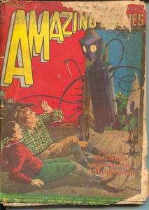 Amazing Stories 1/1928-Frank R. Paul robot cover-HG Wells-Verne-early pulp-P