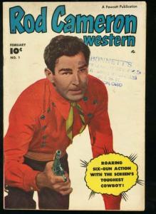 ROD CAMERON WESTERN #1-FAWCETT-1950-PHOTO COVER VG+