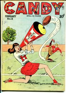 Candy #8 1949-Quality-Spicy Good Girl Art- Sahle-pin-up style cheerleader-FN-