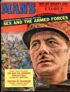 Man's Magazine April 1960-CHARLES DEGAULLE COVER-LEON URIS VG/FN
