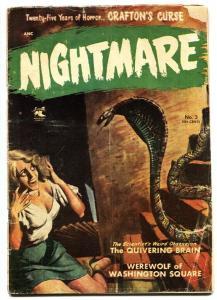 Nightmare #3 Headlight cover-Snake menace-Pre-code horror