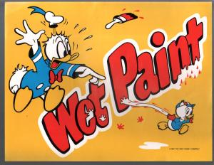 Wet Paint Poster-Donald Duck-Disney World 1987-unused-unique item-VF