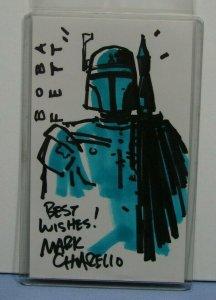 Star Wars SIGNED Sketch 3 x 5 Index Card BOBA FETT MARK CHIARELLO MANDALORIAN