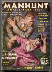 Manhunt Pulp January 1954- Wrong Touch- Pattern for Panic