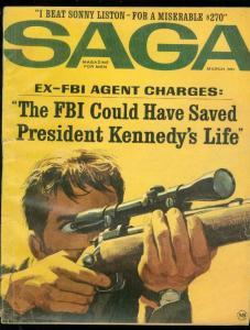 SAGA MAGAZINE MARCH 1964-KENNEDY SNIPER COVER-LISTON VG