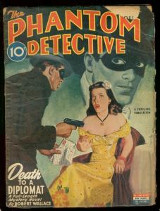 PHANTOM DETECTIVE OCT 1945- DEATH TO A DIPLOMAT PULP--- G