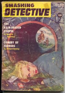 Smashing Detective 9/1956-Double Action-dead blonde babe-hard boiled pulp-VG